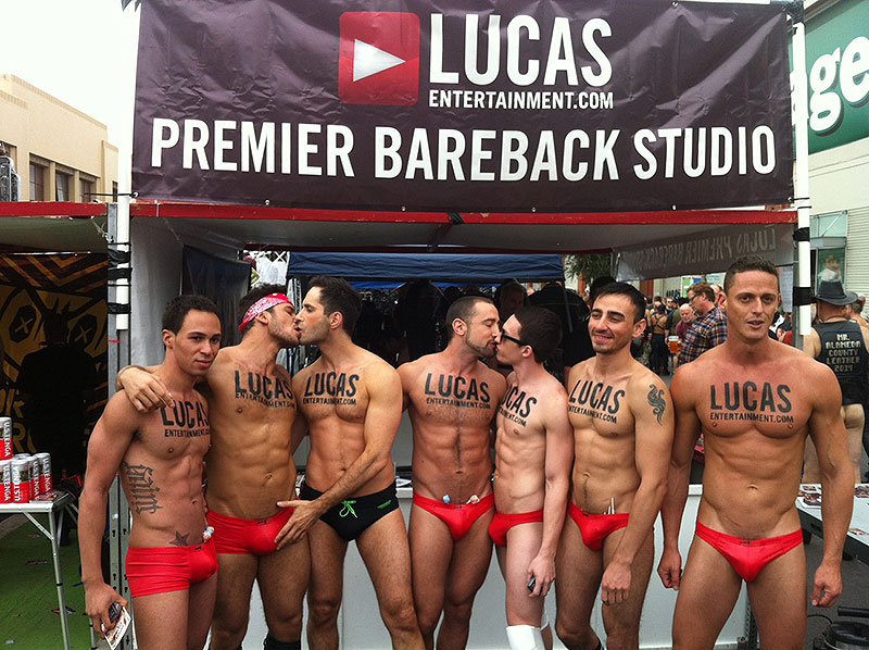 The Lucas Entertainment crew, with Michael Lucas fondling Dato Foland's dick.